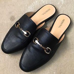 Black Leather Slip On Loafer Mules